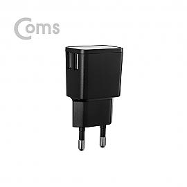 Coms 가정용 5V 2.0A  2포트 C타입(1.5M)  BLACK