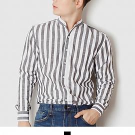 차이나카라 파스텔 블랙 줄지 남자 셔츠