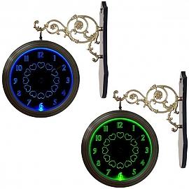 GB3316 무소음 LED 블루그린 양면 벽시계 블랙 장미