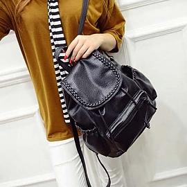 백팩 캐주얼가방 여성 검정 무지 솔리드 기본 디자인