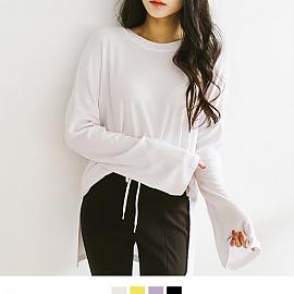 여리핏 긴팔 트임 티셔츠