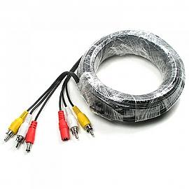 Coms CCTV 케이블 15m - 2RCA  DC 5.5 전원 검정색
