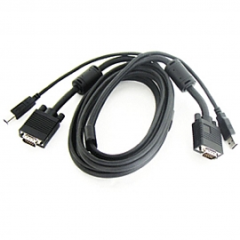 Coms KVM 케이블 5M HD15M USB AB