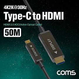 Coms USB 3.1 Type C to HDMI 2.0 AOC 리피터 케이블 50M  4K60Hz