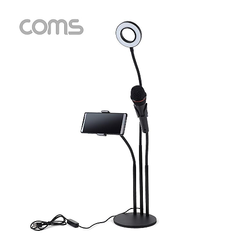 Coms LED 원형 램프 스마트폰 마이크 스탠드 3 in 1  링 라이트  플렉시블  탁상 거치  Ring Light a010