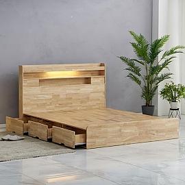 재스민 LED 서랍형 수납 원목 침대 프레임 SS Q